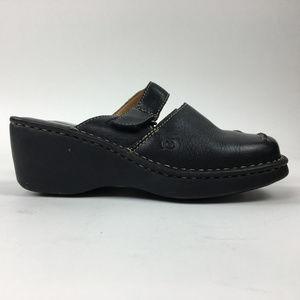 Born Women's Black Leather Clogs Mules Shoes Size